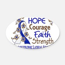 Cool Als blue and white ribbon Oval Car Magnet