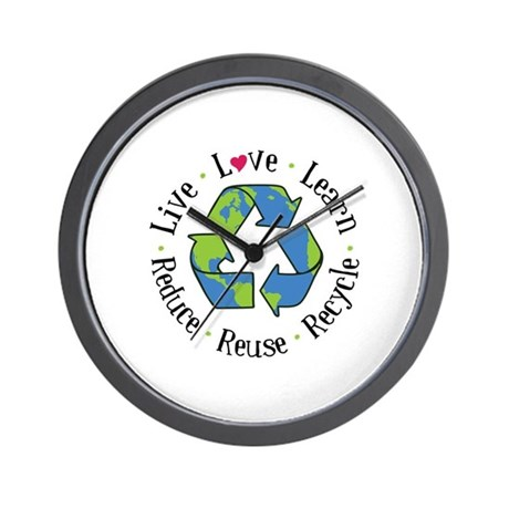 Live.Love.Learn.Recycle.Reuse.Reduce Wall Clock by Embroidery1