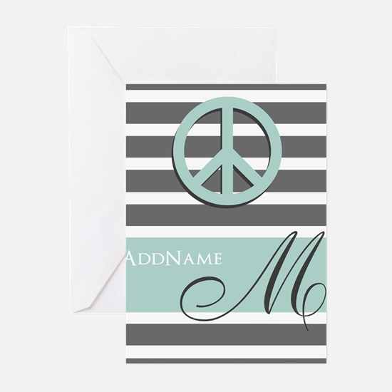 Peace Charcoal Gray Mint Monogram Greeting Cards