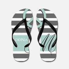 Peace Charcoal Gray Mint Monogram Flip Flops