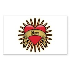 Red Heart Tattoo Mom Mother Rectangle Decal