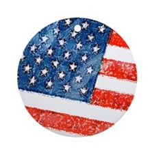 Grungy USA Flag Ornament (Round)