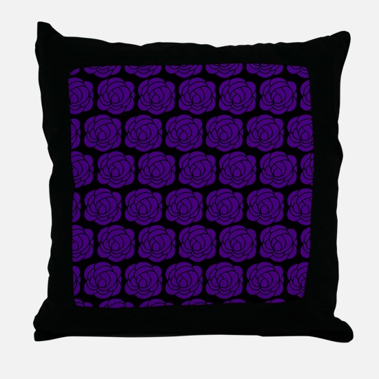 Purple Roses On Black Throw Pillow