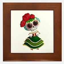 El Dia de Los Muertos Skeleton Girl Framed Tile