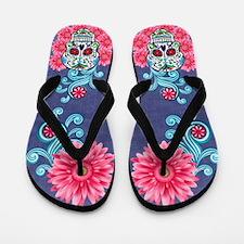 Pink Daisy Sugar Skull Flip Flops