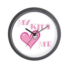 My Kids Love Me Pink Heart Mom Wall Clock