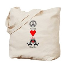Peace Love Skunks Tote Bag