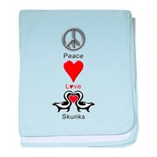 Peace Love Skunks baby blanket