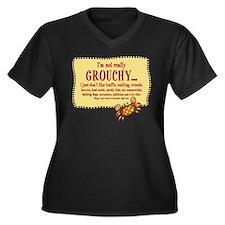 Grouchy Crab Women's Plus Size V-Neck Dark T-Shirt