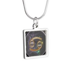 Cancer Zodiac Sign Silver Square Necklace