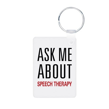 Ask Me About Speech Therapy Aluminum Photo Keychai