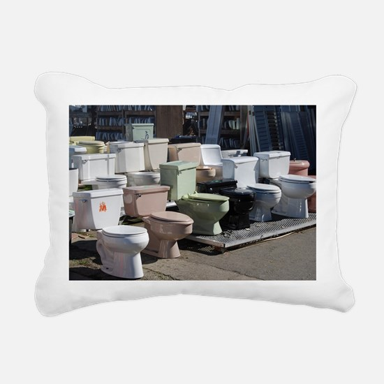 toilets at attention Rectangular Canvas Pillow