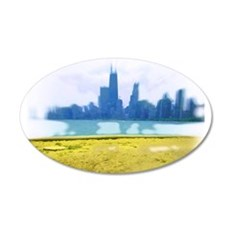 Chicago Skyline Air Brush Painted Wall Decal