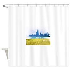 Chicago Skyline Air Brush Painted Shower Curtain
