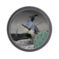 Gambels Quail in Sabino Canyon Wall Clock
