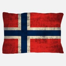 Flag of Norway Vintage Grunge Pillow Case