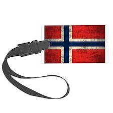 Flag of Norway Vintage Grunge Luggage Tag