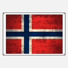 Flag of Norway Vintage Grunge Banner
