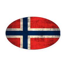 Flag of Norway Vintage Grunge Oval Car Magnet