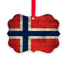 Flag of Norway Vintage Grunge Ornament