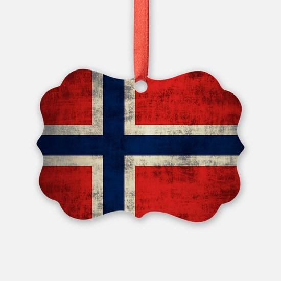 Flag of Norway Vintage Grunge Ornament