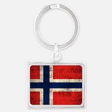 Flag of Norway Vintage Grunge Keychains
