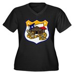 USS ALAMO Women's Plus Size V-Neck Dark T-Shirt