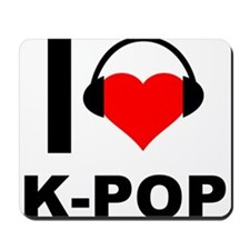 I Love K-Pop Korean Heart Headphones Mousepad