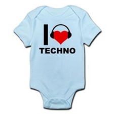 I Love Techno Music Heart Headphones Body Suit