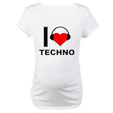 I Love Techno Music Heart Headphones Shirt