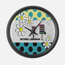 Retired Librarian birds Large Wall Clock