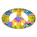 Colorful Peace Symbol Oval Sticker