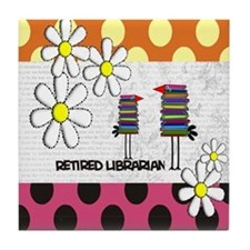 Retired librarian birds 2 Tile Coaster