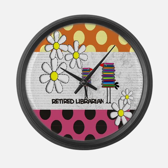 Retired librarian birds 2 Large Wall Clock
