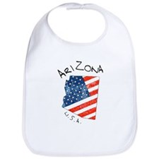 Grungy American flag inside Arizona map Bib