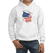 Grungy American flag inside Wisconsin State Hoodie