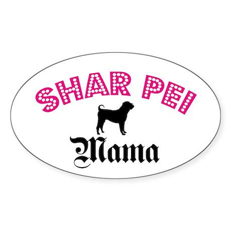 Shar Pei Mama Oval Sticker