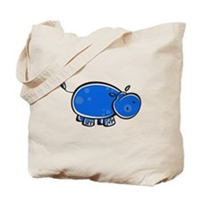 Bright Blue Hippo Tote Bag
