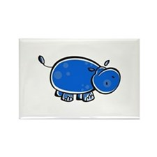 Bright Blue Hippo Rectangle Magnet