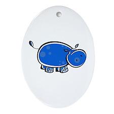 Bright Blue Hippo Oval Ornament