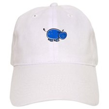 Bright Blue Hippo Baseball Cap