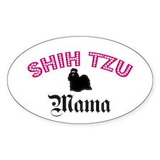 Shih Tzu Mama Oval Bumper Stickers