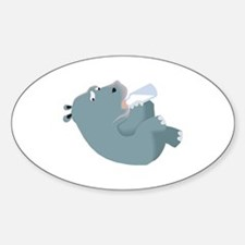 Baby Hippo with Bottle Oval Decal