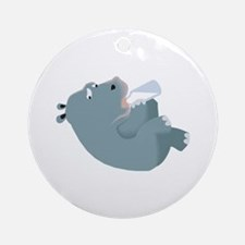 Baby Hippo with Bottle Ornament (Round)