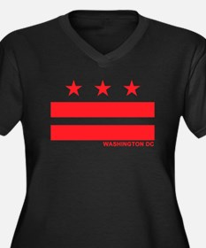 Washington DC Flag Women's Plus Size V-Neck Dark T