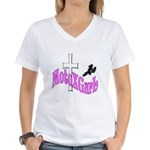 MotoXGurl in Pink Women's V-Neck T-Shirt