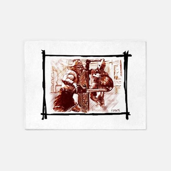 Gladiators duel 5'x7'Area Rug