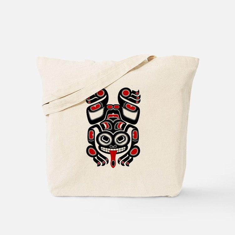 Red and Black Haida Tree Frog Tote Bag