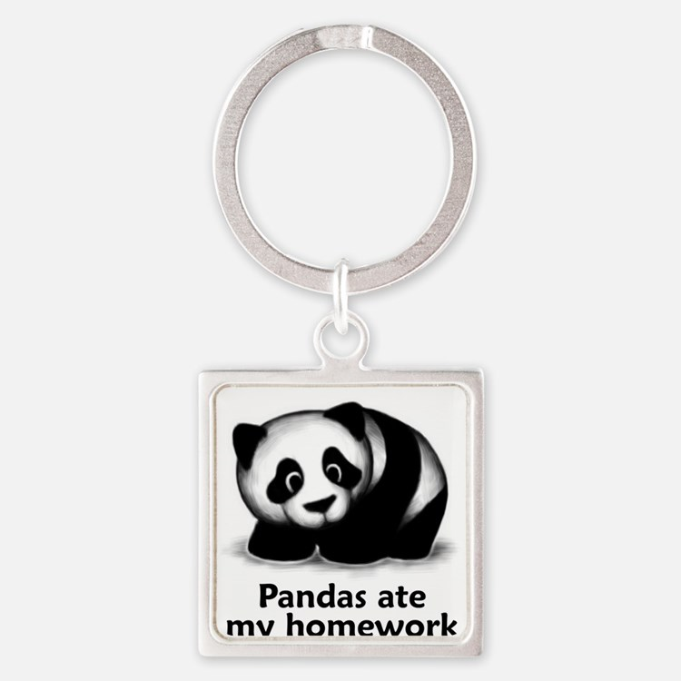 Cute Funny panda Square Keychain