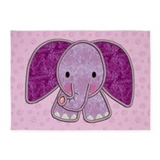 Purple Elephant 5'x7'Area Rug